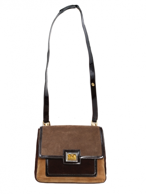 Moka, nutmeg and chocolate brown suede leather shoulder bag Retail price €800