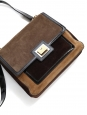 Moka, nutmeg and chocolate brown suede leather shoulder bag Retail price €1100