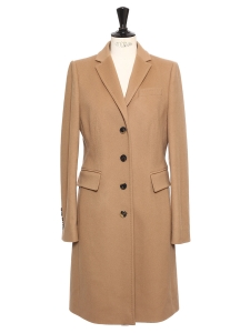 Camel beige virgin wool and cashmere coat Retail price €600 Size 39