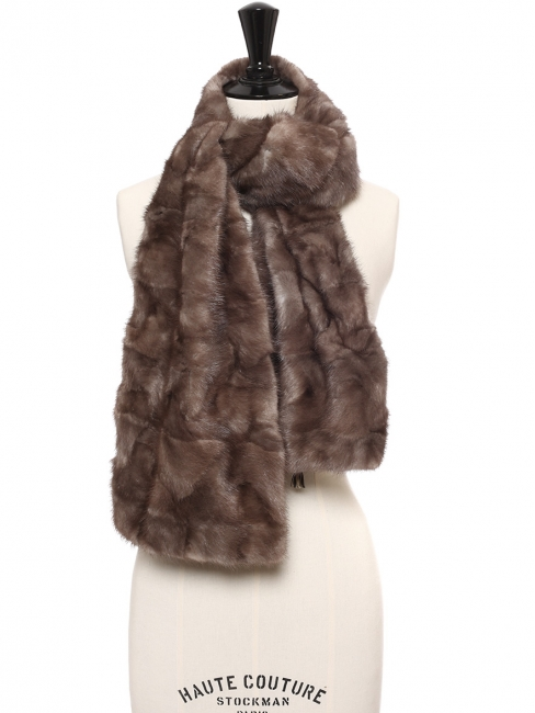 Chocolate brown fur scarf Unique size