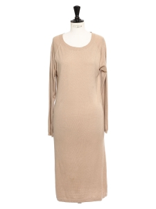 Beige silk and cashmere sweater dress Retail price €230 Size 38