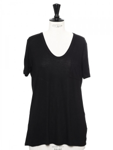 Black jersey scoop neck tee shirt NEW Retail price €95 Size S