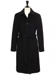 Black virgin wool, angora and cashgora CLAIRETTE coat Retail price €550 Size 38