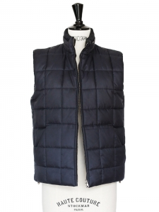 Navy blue sleeveless quilted gilet Retail price €250 Size 34