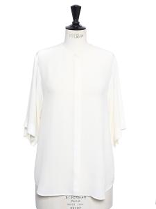 Ivory white silk crepe short sleeved shirt blouse Retail price €700 Size 36/38