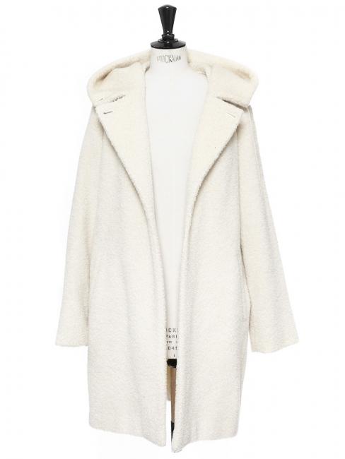 Manteau à capuche en alpaga et laine vierge blanc crème Prix boutique 1059€ Taille 38