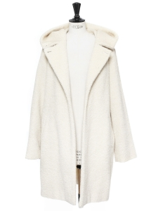 Cream alpaca and virgin wool hooded coat Retail price €1059 Size 38