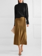 Gold bronze silk satin fluid long skirt Retail price €650 Size 36