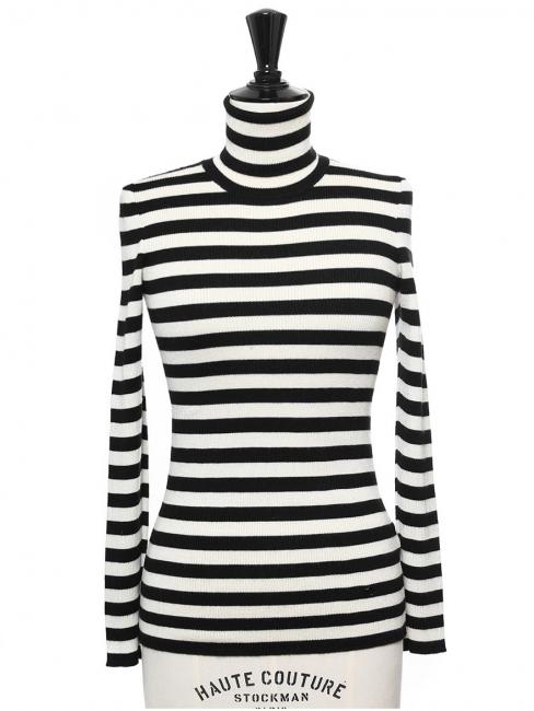 Pull col roulé en laine, soie et cachemire rayé noir et blanc Prix boutique  695 20d542dbba2f
