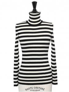Pull col roulé en laine, soie et cachemire rayé noir et blanc Prix boutique 695€ Taille XS