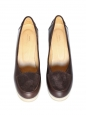 Brown leather wedge loafers Retail price €295 Size 39