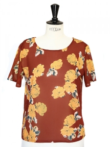 Nutmeg brown and yellow floral printed short sleeved shirt Size 36