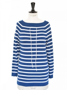 Blue / white striped cotton boatneck jumper Retail price €135 Size 36