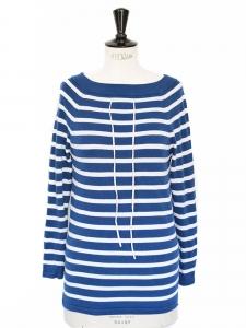 Pull marinière col bateau en coton bleu et blanc Prix boutique 135€ Taille 36