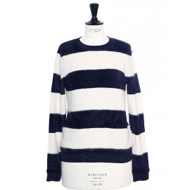 PURE Navy blue and white striped fuzzy mohair and wool sweater NEW Retail price €140 Size S
