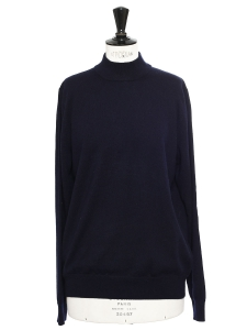 Navy blue cashmere turtleneck sweater Retail price €350 Size 38