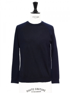 Midnight blue and blue fine wool crew neck sweater Retail price €600 Size S