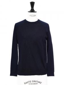 Pull bleu nuit et noir en laine fine col rond Prix boutique 600€ Taille S
