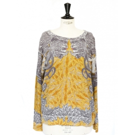 Yellow and grey printed cotton sweater Size M