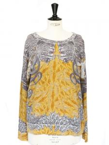Sweatshirt fin en coton imprimé jaune et gris Taille M