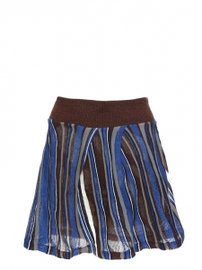 Metallic blue, brown and white wool and lurex skater skirt NEW Size M