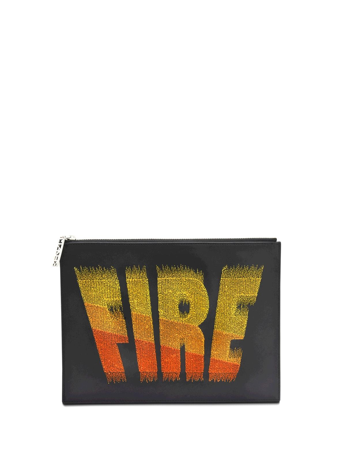 3db21c9d20a Louise Paris - KENZO Pochette FIRE en cuir noir NEUVE Prix boutique 380€