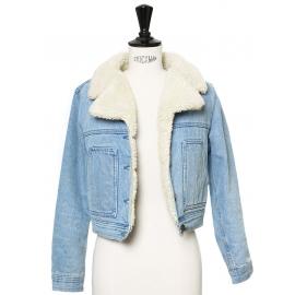 Veste courte shearling en jean bleu clair et fausse fourrure Taille XS