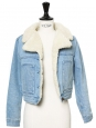 Light blue denim and faux fur cropped shearling jacket Size XS