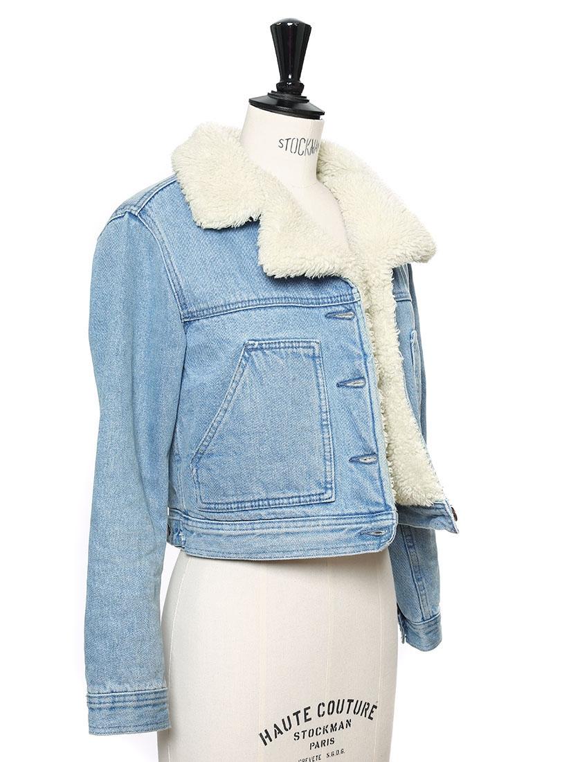 Louise Paris Light Blue Denim And Faux Fur Cropped