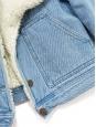 Veste courte shearling en jean bleu clair et fausse fourrure Taille