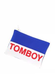 Blue, white, red TOMBOY zipped neoprene clutch