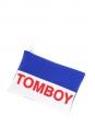 Blue, white, red TOMBOY zipped neoprene clutch