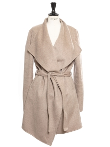 LISA Heather beige wool and cashmere belted coat Retail price €700 Size 38