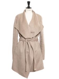 Manteau LISA en laine et cachemire beige chiné Prix boutique 700€ Taille 38