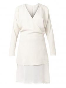 Robe manches longues en crêpe beige crème NEUVE Prix boutique 1300€ Taille 40
