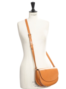 Natural beige vegetable leather cross body bag