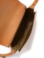 Sac à bandoulière besace en cuir végétal beige naturel