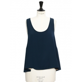 ICONIC Peacock blue silk crepe tank top Retail price €390 Size 36/38