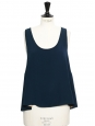 ICONIC Peacock blue silk crepe tank top Retail price €390 Size 38
