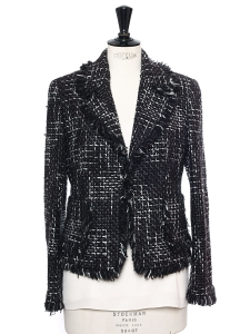 Black, grey and white wool tweed jacket Size 38