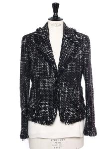 Veste en tweed de laine noir, gris et blanc Taille 38