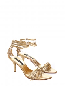 Golden leather fringed sandals Retail price €650 Size 35.5