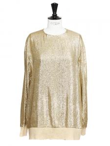 Top manches longues en lamé de soie doré métallisé Px boutique 675€ Taille 38/40