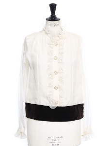 Brown velvet and white ruffled silk organza blouse Retail price €1250 Size 40