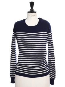 Navy blue and white striped pure cashmere Breton sweater Retail price €300 Size XS