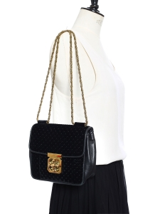 Small black leather and velvet ELSIE cross body bag Retail price €995