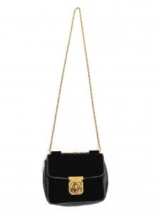 Small black leather and velvet ELSIE cross body bag Retail price €995