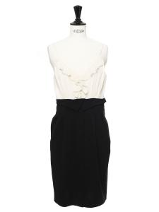 Robe à bretelles fines noire et blanc crème Prix boutique 460€ Taille 36