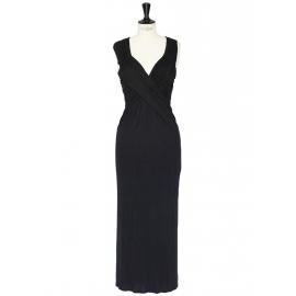 Black décolleté cinched maxi evening dress Retail price €1500 Size 38
