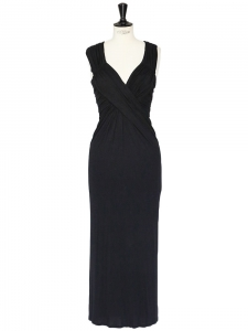 Black stretch jersey draped maxi dress Retail price €1500 Size 38